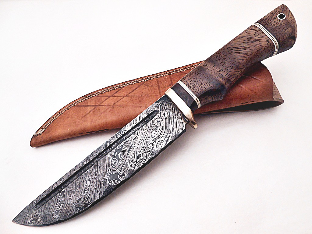 Custom Hand Forged Damascus Steel Knife, Rose Wood Handle