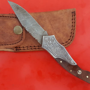 Handmade Damascus Folding Knife, Engraved Steel Bolster Rose wood Mosaic