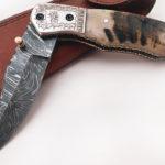 Handmade Damascus Folding Knife Engraved Steel Bolster Sheep Horn Handle