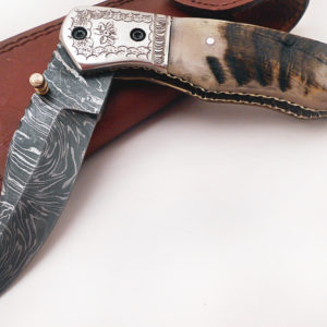 Handmade Damascus Folding Knife Engraved Steel Bolster Sheep Horn Handle