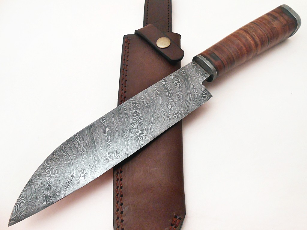 Custom handmade Damascus Chef Knife Leather Handle