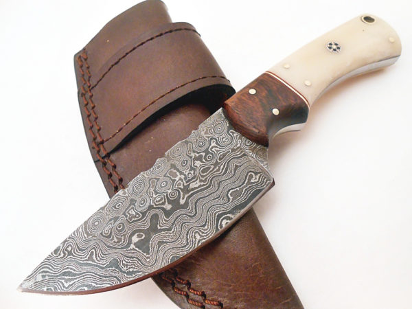 Damascus Hand Forged Full Tang Rose Wood Camel Bone Mosaic Handle