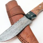 Damascus Rose Wood-Olive Wood Mosaic Handle Camping knife