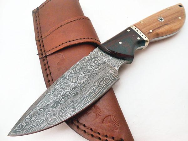 Handmade Damascus Rose Wood Olive Wood, Mosaic camping knife
