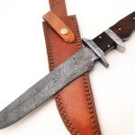 Full Tang Damascus Steel Blade Bowie Hunting knife Rosewood engraved
