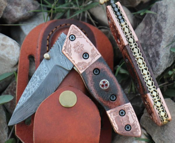 Damascus Folding Knife Engraved Copper Bolster Micarta Mosaic