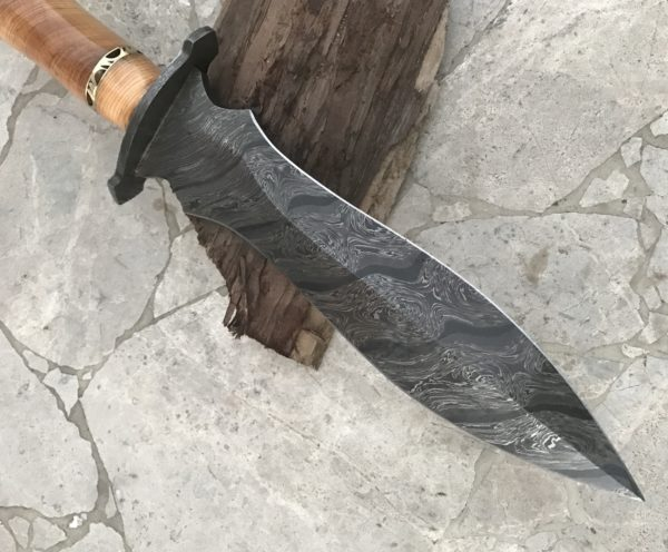 Damascus Steel Dagger Knife Damascus Bolster, Olive Wood and Micarta Handle