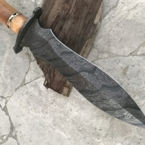Damascus Steel Dagger Knife Damascus Bolster, Olive Wood Micarta Handle