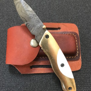 Damascus Folding Knife Brass Camel Bone handle leather sheath