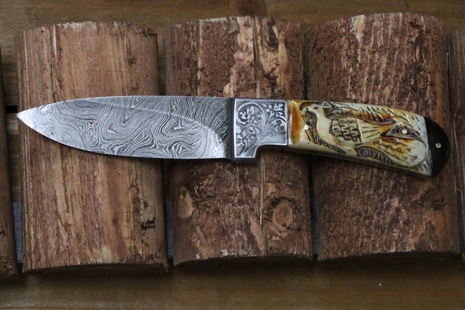 Detailed Handmade engraved steel camel bone bull horn full tang
