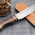 Custom Hand Forged Damascus Steel Knife, Rose Wood Copper Handle