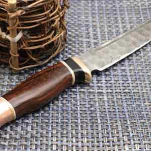 Handmade Damascus Knife Copper Bolster, Ebony wood, Rose wood Handle