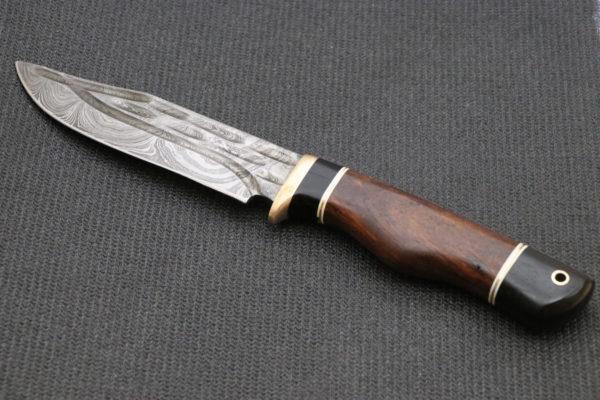 Hand forged knife,Damascus Knife, Ebony Wood Handle, Rose Wood Handle