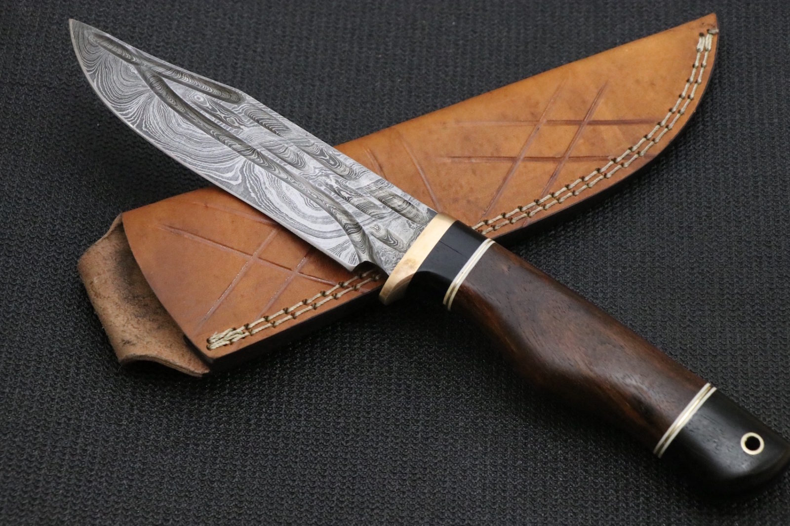 forged rose template - hand forged damascus knife ebony wood