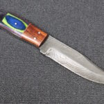Handmade Damascus knife walnut color wood handle skinner knife