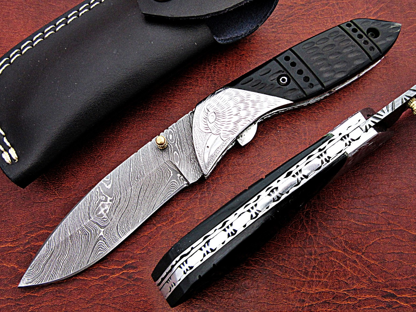 Damascus Folding Knife Buffalo Horn