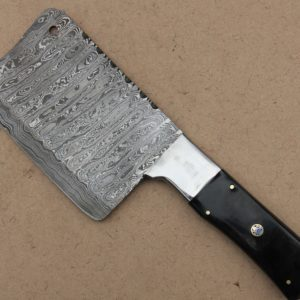 Damascus Full Tang Steel Chopper, Cleaver, Steel Bolster, Buffalo Horn Mosaic
