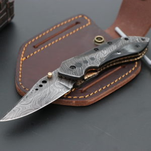 Bull horn handle folding knife
