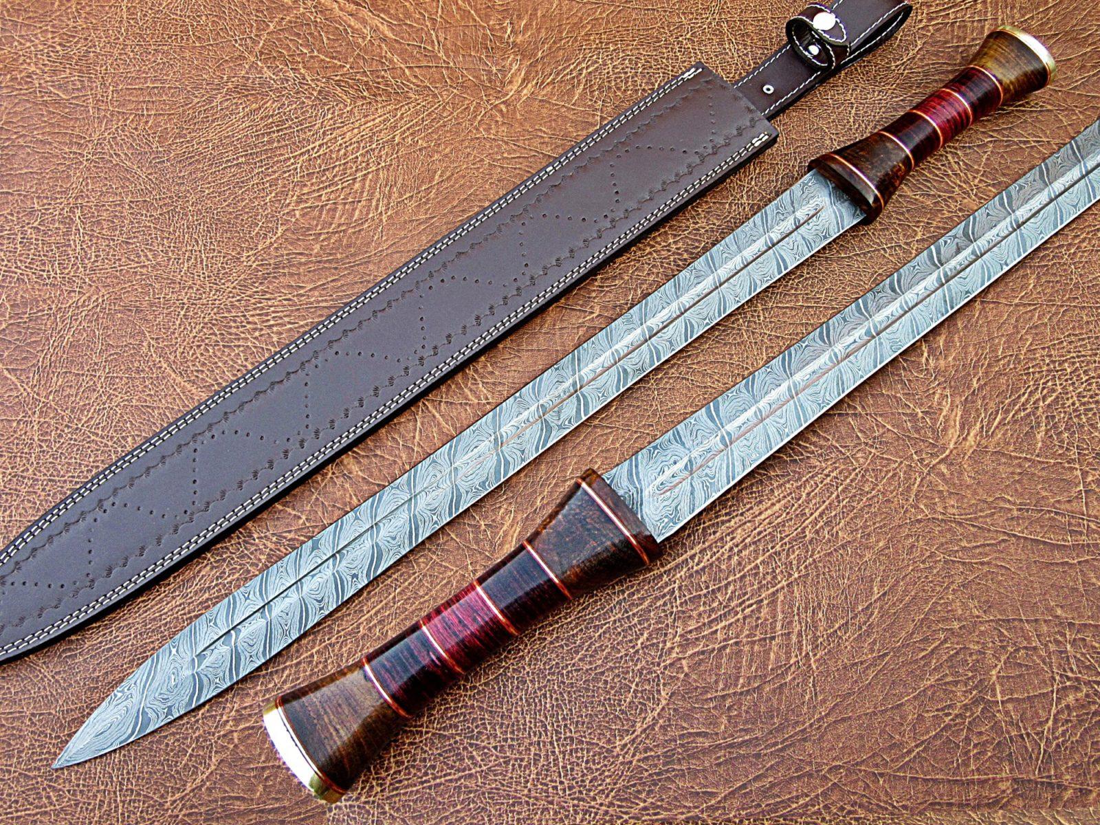 Handmade Damascus Roman Style Sword Rosewood Brass Bolster