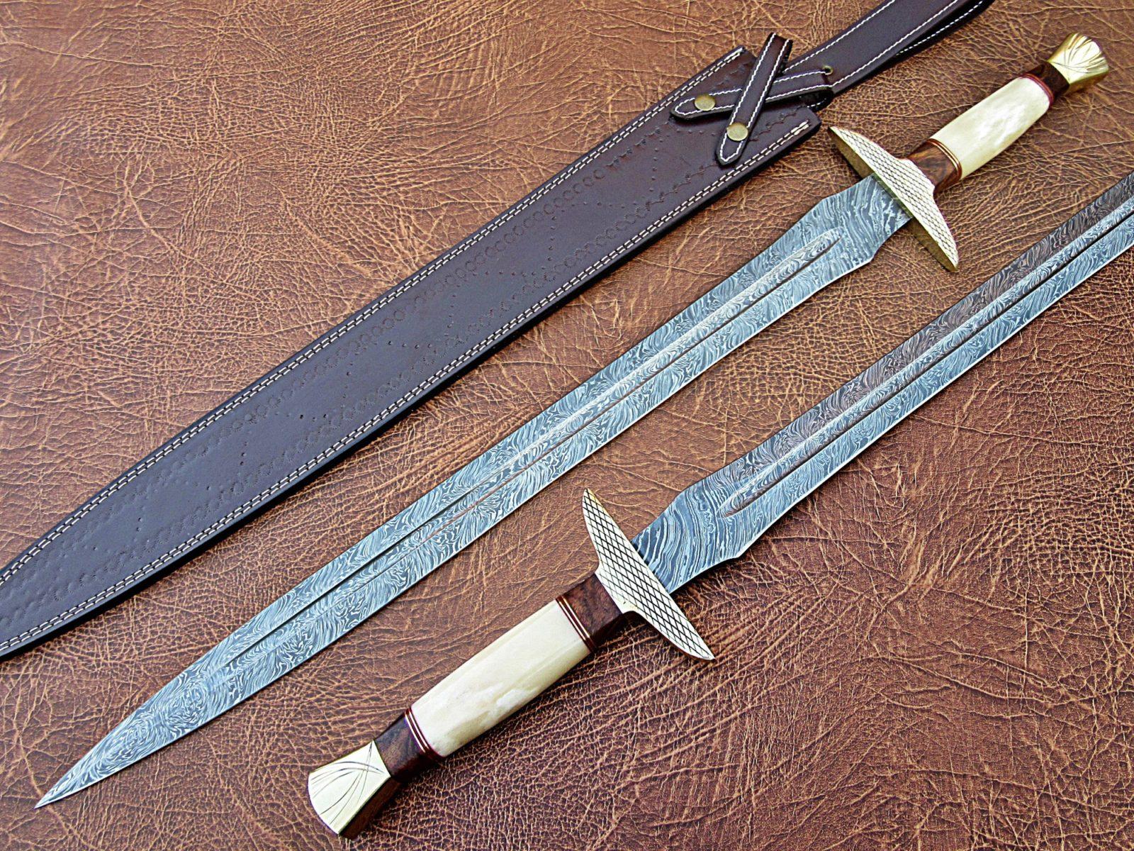 Handmade Damascus Steel Sword, Rosewood camel bone brass