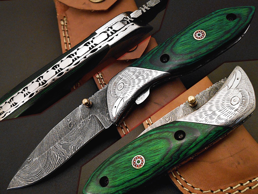 Handmade Damascus Folding Knife Engraved