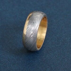Damascus Steel Men Ring, Size (7.5)
