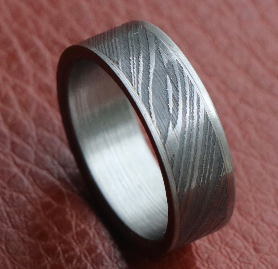 Damascus steel wedding ring flat