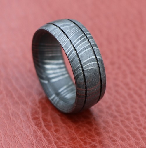 Wedding Band double lines outer lay