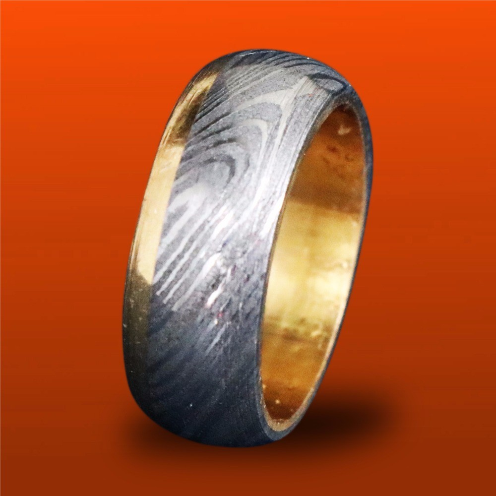 Damascus Steel Ring with Copper Inlay Custom Made Men's ... |Damascus Steel Rings For Women