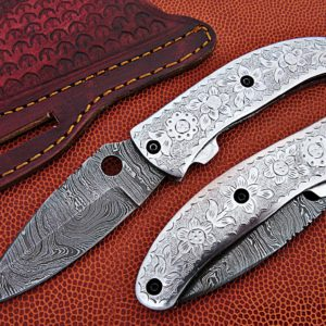 Handmade Damascus Folding Knife Silver Engraved Pocket knive