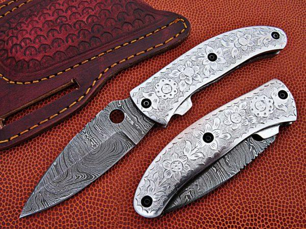 Handmade Damascus Folding Knife Silver Engraved Pocket knive