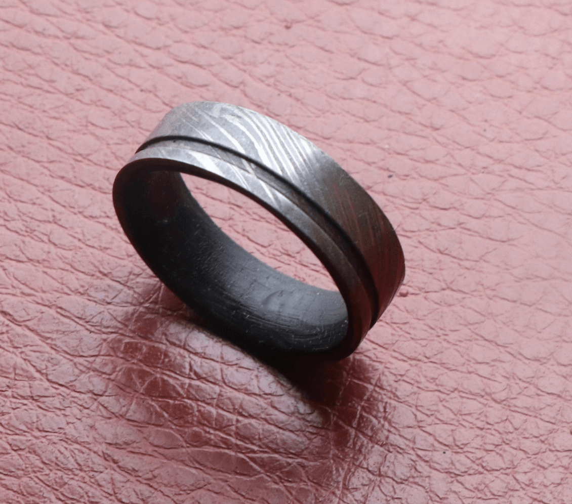Damascus steel Ring Wenge wood, Damascus men wedding band