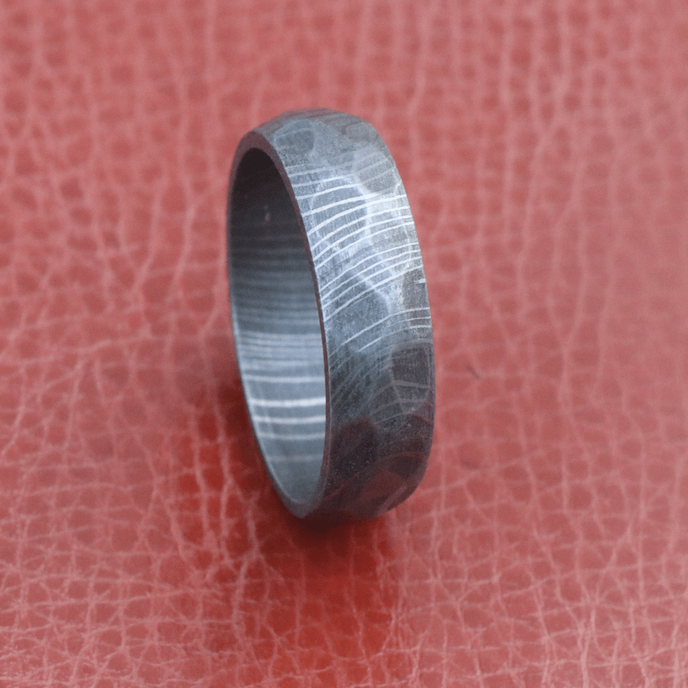 Damascus Steel Men Wedding Band Hammered Rock