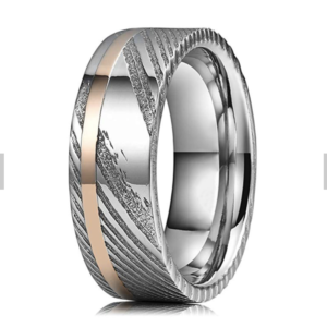 Damascus steel wedding band Rose Gold Inlay