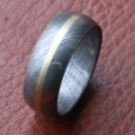 Damascus men wedding band Two Tone
