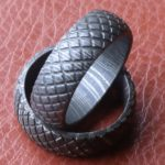 men Damascus steel wedding band chain link pattern