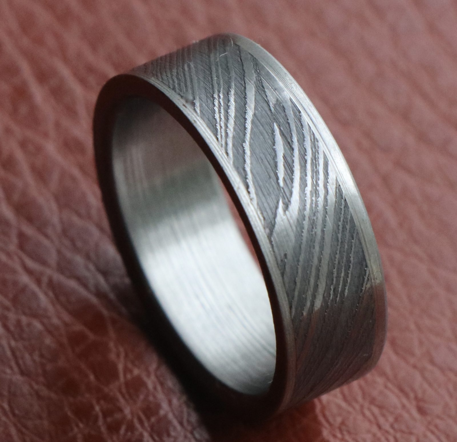 Men Damascus stainless steel wedding band