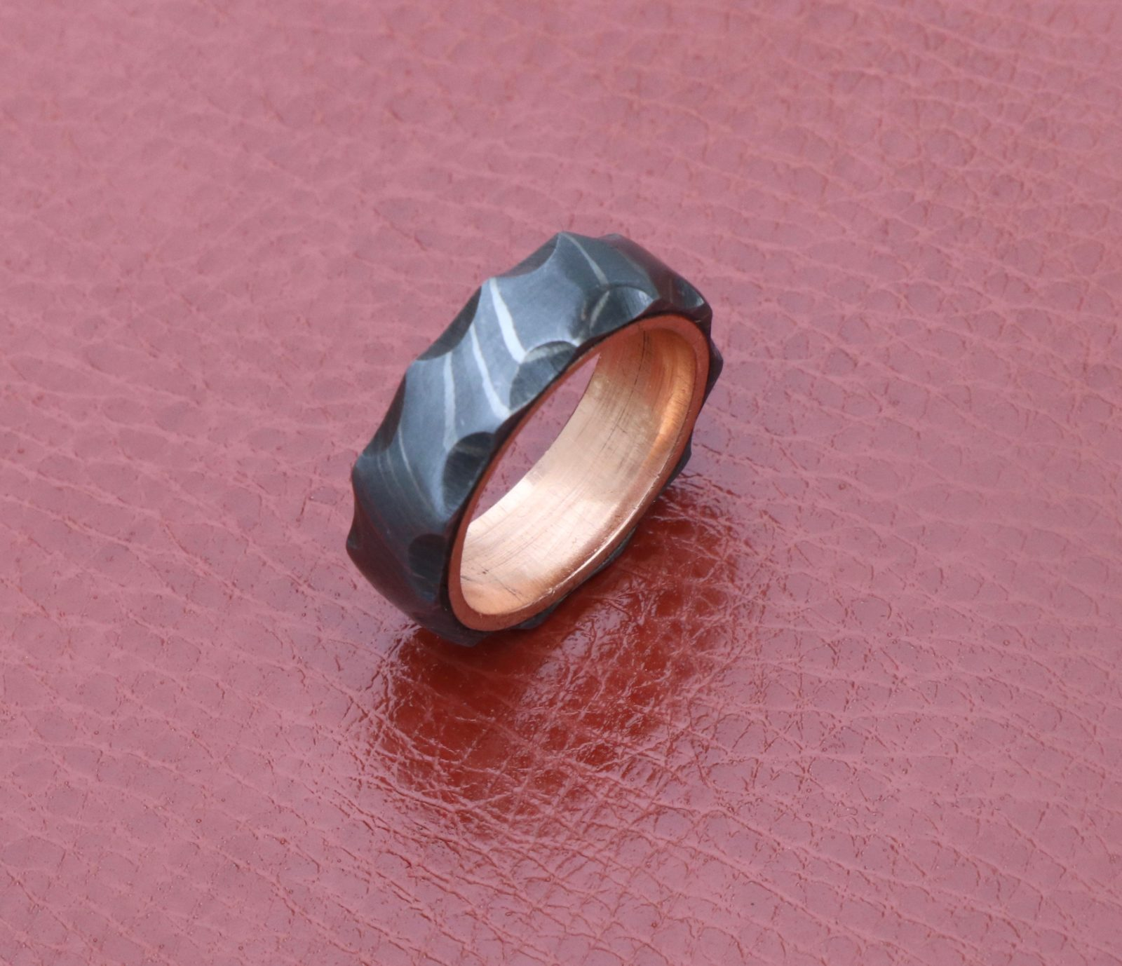 Men Damascus steel wedding band side tumbled ring