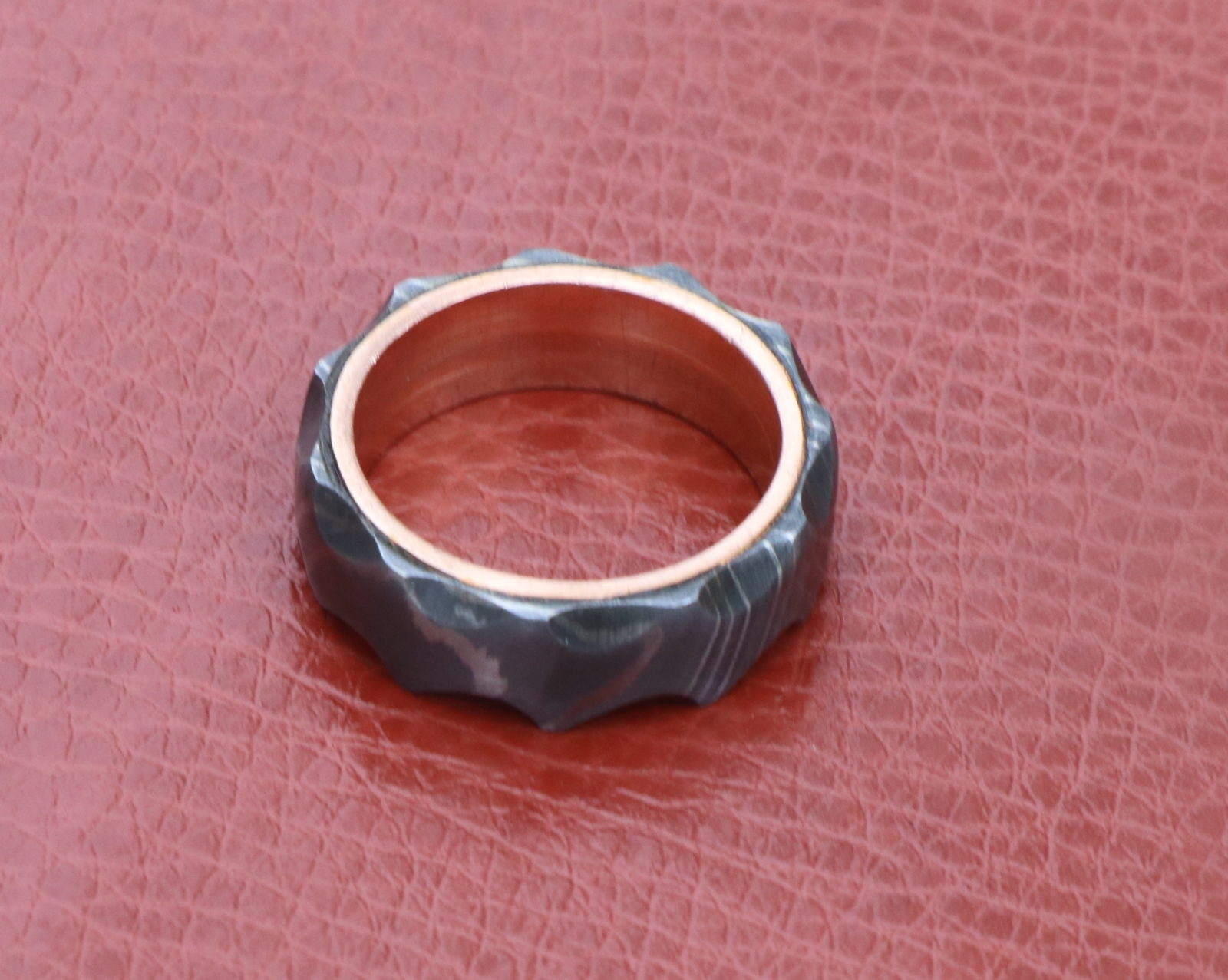 Damascus steel wedding band tumbled ring