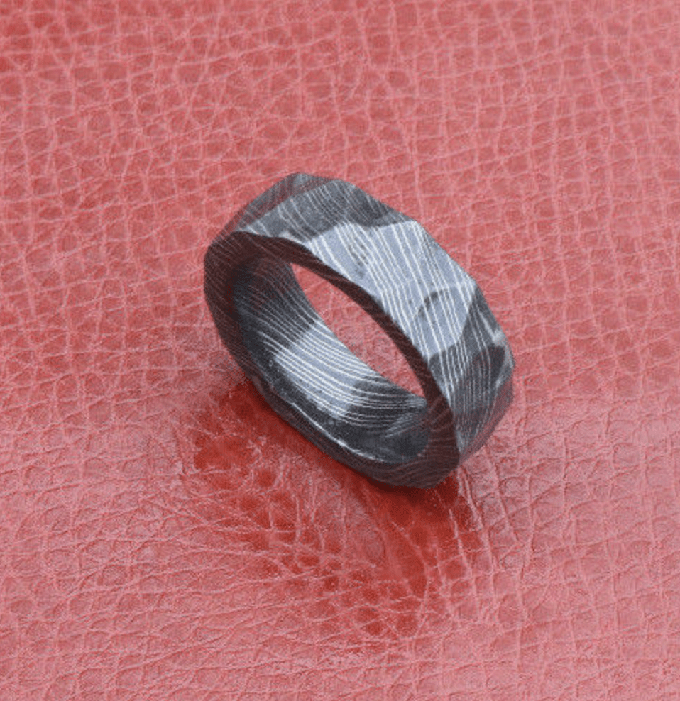 Men Damascus wedding Band tumbled rock