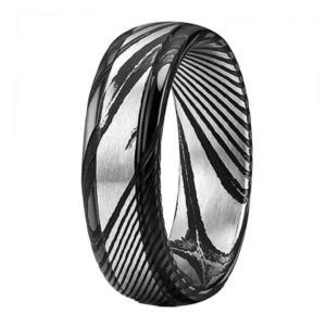 Unisex Damascus Steel engagement band