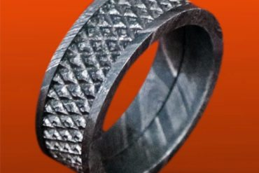 Handmade Men Damascus wedding Ring mesh design engagement band