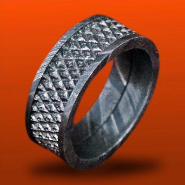 Handmade Men Damascus wedding Ring mesh design engagement band