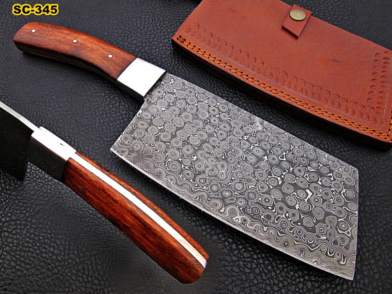 handmade Damascus steel cleaver