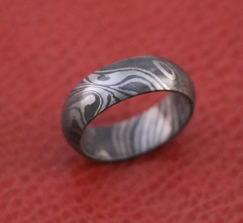 Men Damascus steel dome wedding band