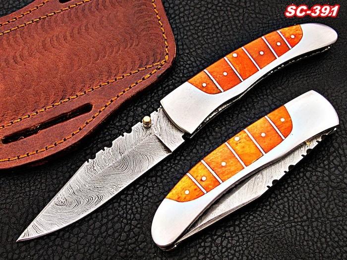 Damascus pocket knives color bone