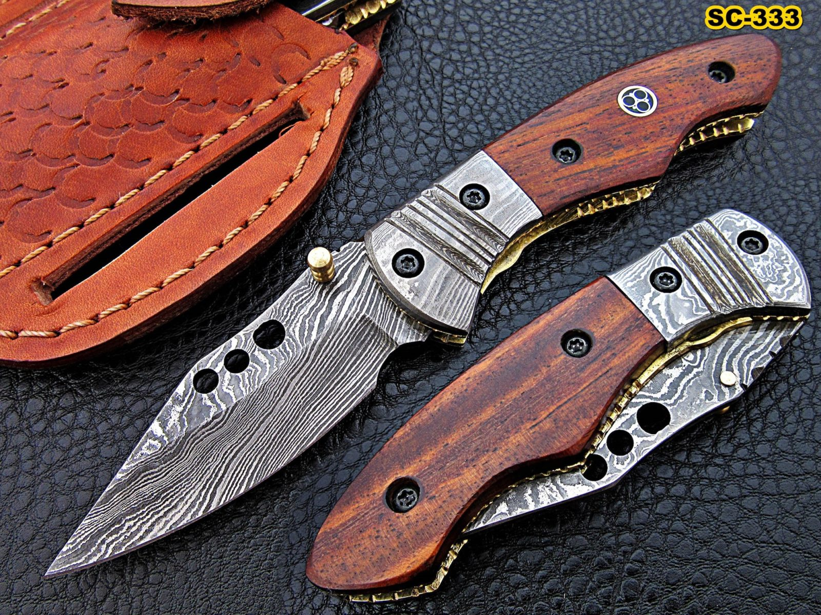 7″ Damascus steel Pocket knives Rosewood