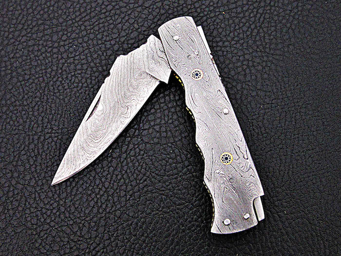 Damascus Folding Knife Damascus handle