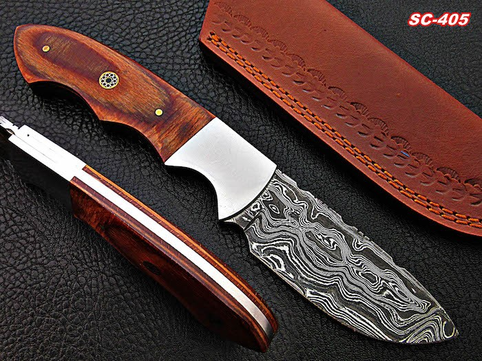 Custom Handmade Damascus Knife Steel Bolster and color sheet Handle