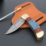Mini pocket Damascus knife